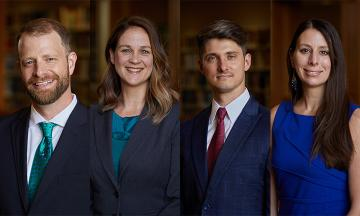 New professors Eric Johnson, Kit Johnson, Christopher Odinet, and Erin Sheley
