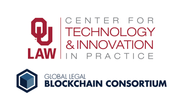 OU Law Center for Technology and Innovation in Practice logo, and the Global Legal Blockchain Consortium logo