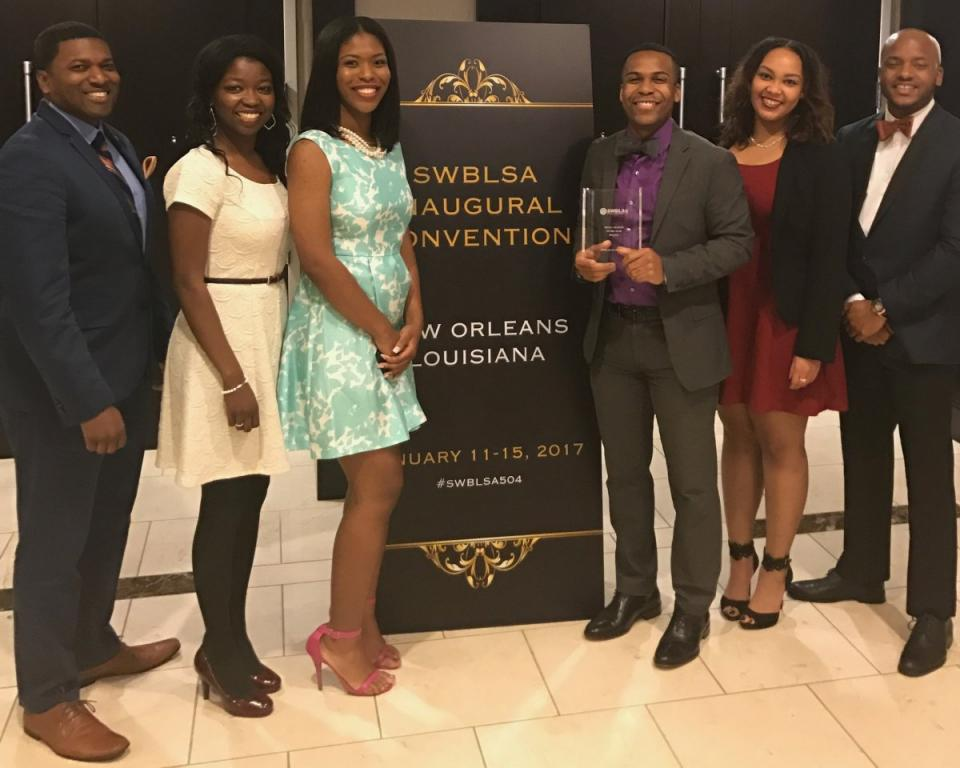 OU BLSA members pose with the Regional Chapter of the Year award at the SWBLSA Conference in January 2017.